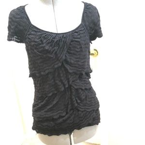 White House Black Market knit ruffle blouse